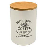 """Банка для кофе Stenson """"Глазурь"""" с бамбуковой крышкой, объем 700мл, размер 10х10х14,8см, белая, Банки для хранения"""