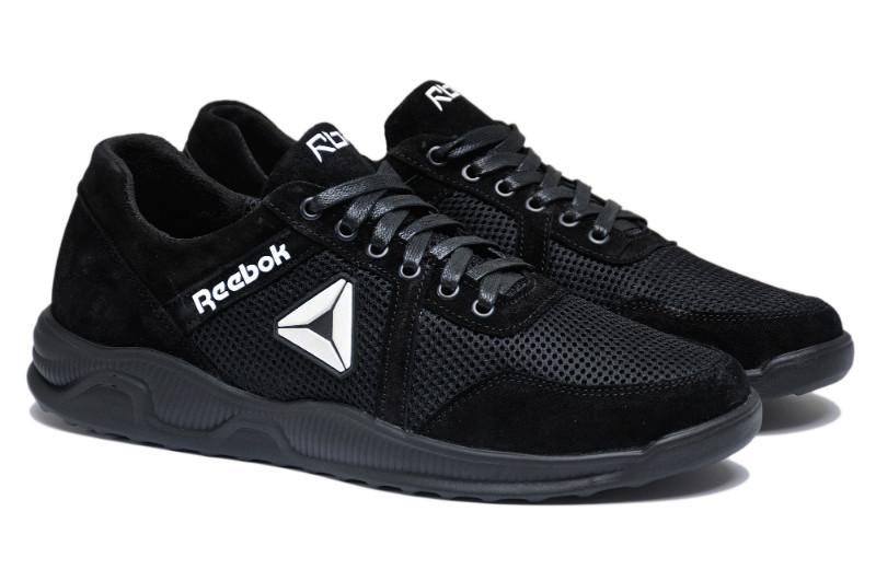 Чоловічі кросівки натуральна шкіра замш +сітка чорні р. 46 47 48 49 50