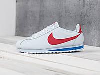 Мужские кроссовки в стиле Nike Cortez White/Red, белые 42 (26,5 см)