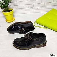 Женские лаковые туфли коричневая подошва