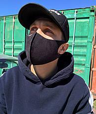 ТРИШАРОВА захисна маска 5мм, чорна Замшева антибактеріальна маска + ПОДАРУНОК Антисептик, фото 3