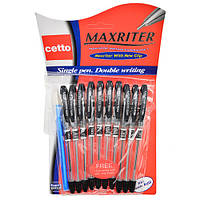 Ручка масляна для письма Maxriter 10 плюс 1, чорна, пластик, ручки, ручки масляні, ручка масляна чорна, набори ручок, ручки для письма