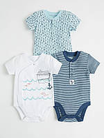 Детский боди с коротким рукавом Джордж для новорожденного мальчика (синий в полоску)