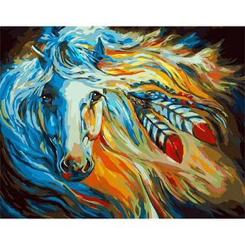 """Картина по номерам Идейка Красочная лошадь """"Непокорная Галия"""" 40х50см"""