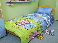 """Дорогой комплект постельного белья детский """"Слоники"""" дешево со склада, бязь."""