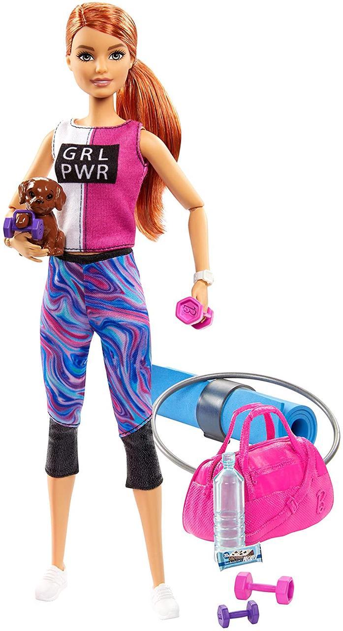 Кукла Барби Рыжая Фитнес йога с собачкой Barbie Fitness Doll