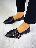 Женские черные кожаные туфли-балетки с застежкой впереди острый носок