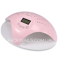 LED-лампа SUN 669 для сушки гелевых ногтей для  двух рук c вентилятором, 48 Ватт розовая