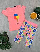 Летний яркий костюм для девочки Мороженое 92 рост Турция