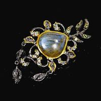 Серебряная Брошь ручной работы с натуральными камнями - Лабрадор, голубые Топазы, Перидот