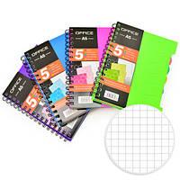 Блокнот - щоденник для запису NoteBook пластикова обкладинка, бічна спіраль, з розділами, А6, 120 аркушів