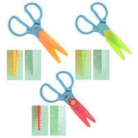 Ножиці дитячі для фігурного різання паперу R83931 в наборі 3 насадки, метал / пластик, різні кольори, ножиці, канцтовари, дитячі ножиці,
