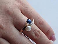 Оригинальное Кольцо серебряное с золотой вставкой и культивированным жемчугом, фото 1