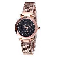 Жіночі годинники Starry Sky Watch на магнітній застібці, рожеві, круглі, кварц, мінеральне скло / нержавіюча сталь