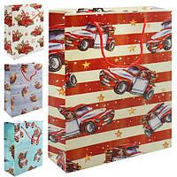 """Пакет подарунковий паперовий з ручками Stenson """"Christmas car"""" розмір 44 * 31 * 12см, різні кольори, подарункові пакети, пакети для подарунків"""