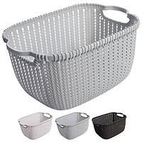 Кошик - плетінка для білизни R84493, з ручками, різні кольори, розмір 27.5 * 15.5 * 12.5 см, білизняна корзина, корзинка в ванну