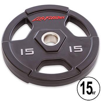 Блины (диски) полиуретановые с хватом и металлической втулкой d-51мм Life Fitness 15кг (черный)