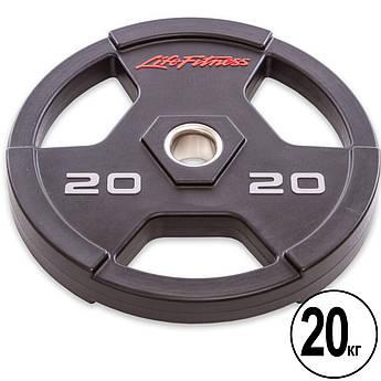 Блины (диски) полиуретановые с хватом и металлической втулкой d-51мм Life Fitness 20кг (черный)