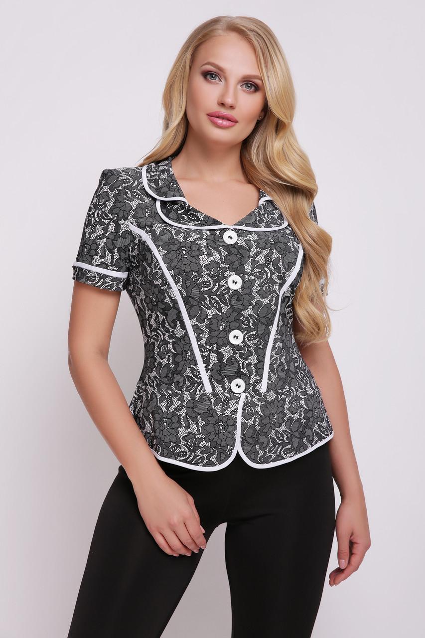 Блузка Miledi Зарина бело-черный 56