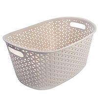 Кошик - плетінка для білизни R84529, з ручками, різні кольори, розмір 36.5 * 25.5 * 19 см, білизняна корзина, корзинка в ванну