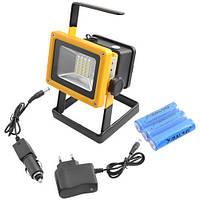 Ліхтар світлодіодний Прожектор 204, Мережа / акумулятор, 30W, 2400Лм. 65IP, переносний прожектор