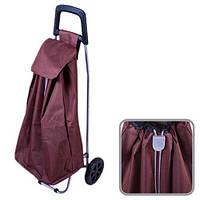 Тачка з сумкою на двох колесах Stenson 97см, бордова, поліестер / метал, побутові товари візки, візки ручні