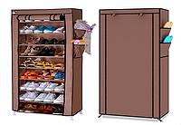 Стелаж для зберігання взуття Shoe Cabinet коричневий, тканинний, 10 полиць, розмір 60х30х160см, полиці для взуття