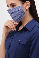 Маска тканевая на лицо синего цвета в горошек №4, фото 1