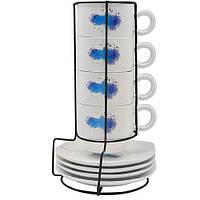 """Чашки з блюдцями на підставці """"Lemon"""" в наборі 9шт, обсяг 150мл, розмір 24х8см, кераміка, столовий посуд, оригінальні чашки і кружки"""