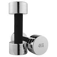 Гантель для фитнеса 4кг (1шт) хром 80034C-4