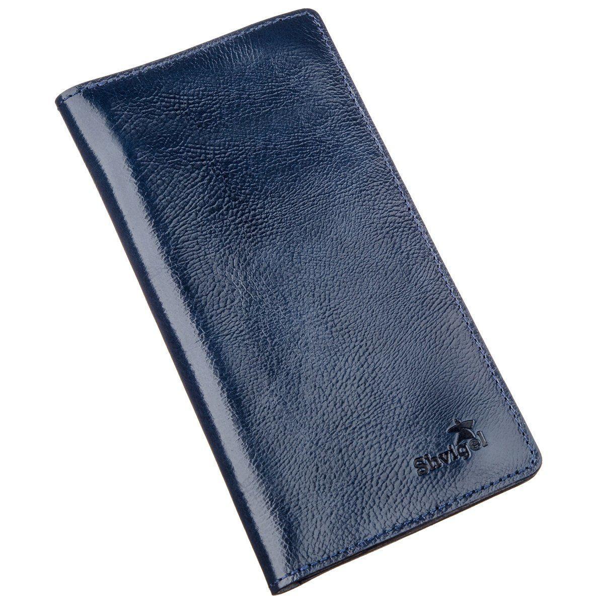 Бумажник Унисекс На Кнопках Кожаный Shvigel 16192 Синий, Синий