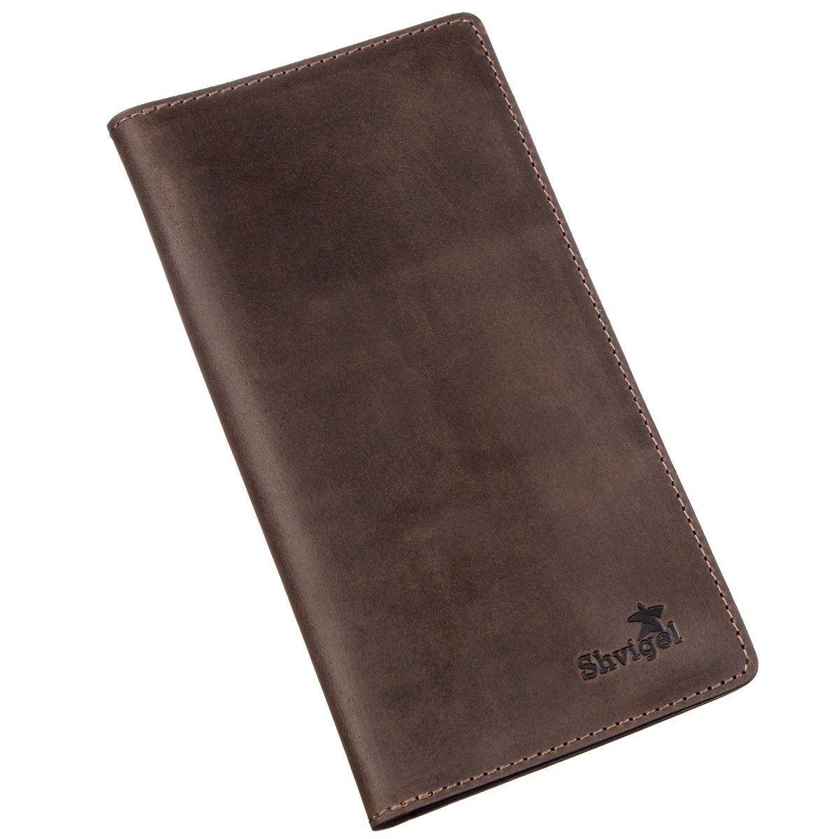 Бумажник Мужской Вертикальный Матовый Shvigel 16198 Коричневый, Коричневый