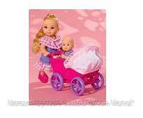 Игровой набор Кукла Еви с коляской с малышом и аксессуарами для кормления и переодевания - Doll Walk Evi Simba