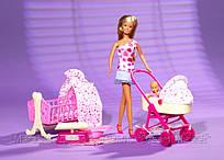 Игровой набор Кукла Штеффи с малышом, кроваткой, коляской, аксессуарами для ухода - Steffi Newborn Baby Simba