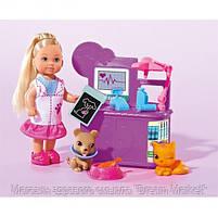 Игровой набор Кукла Еви ветеринар с котенком, щенком и медицинскими аксессуарами - Evi Love Animal Doctor