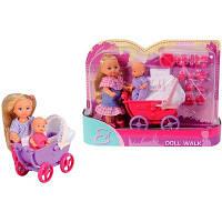 Игровой набор Кукла Еви с малышом в коляске с балдахином и аксессуарами для кормления - Doll Walk Evi Love