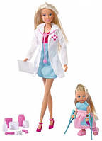 Игровой Набор Детский доктор с Куклами Штеффи и Еви и медицинскими аксессуарами - Steffi Love Child Doctor