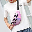 Блестящая женская сумка бананка Голограмма 3, фото 10