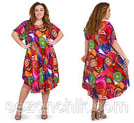 Трикотажное женское платье летнее интернет магазин размеры 54-58