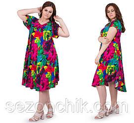 Летнее женское платье легкое размеры 54-58