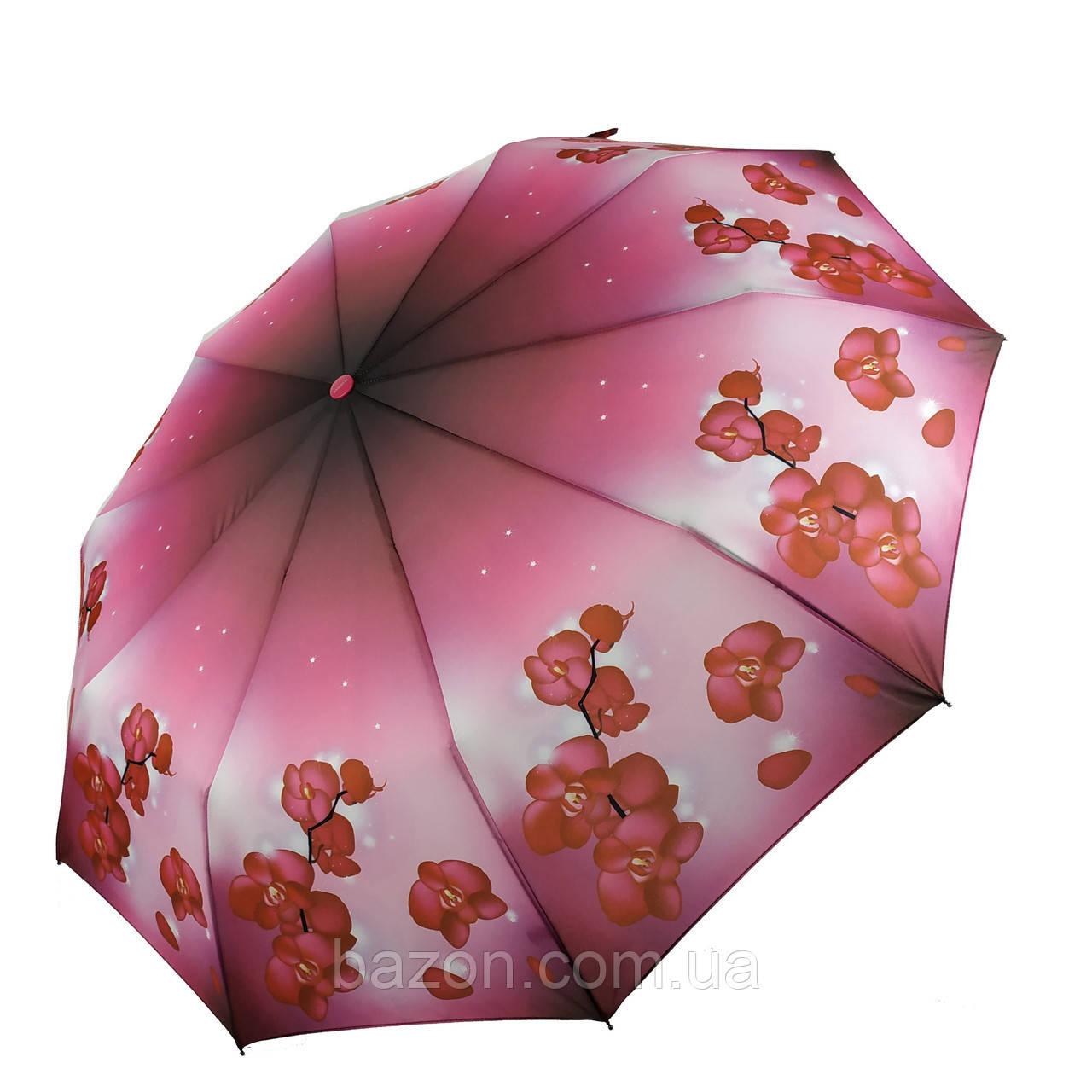 Женский зонтик полуавтомат с орхидеями от Flagman / Флагман, малиновый,  733-1