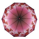 Женский зонтик полуавтомат с орхидеями от Flagman / Флагман, малиновый,  733-1, фото 2