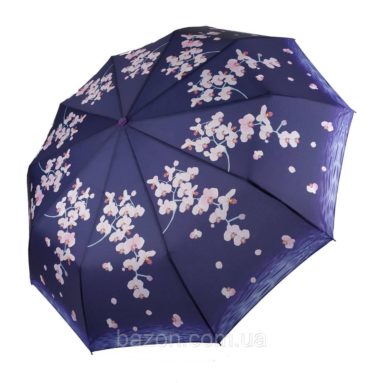 Женский зонтик полуавтомат с орхидеями от Flagman / Флагман, фиолетовый,  733-4