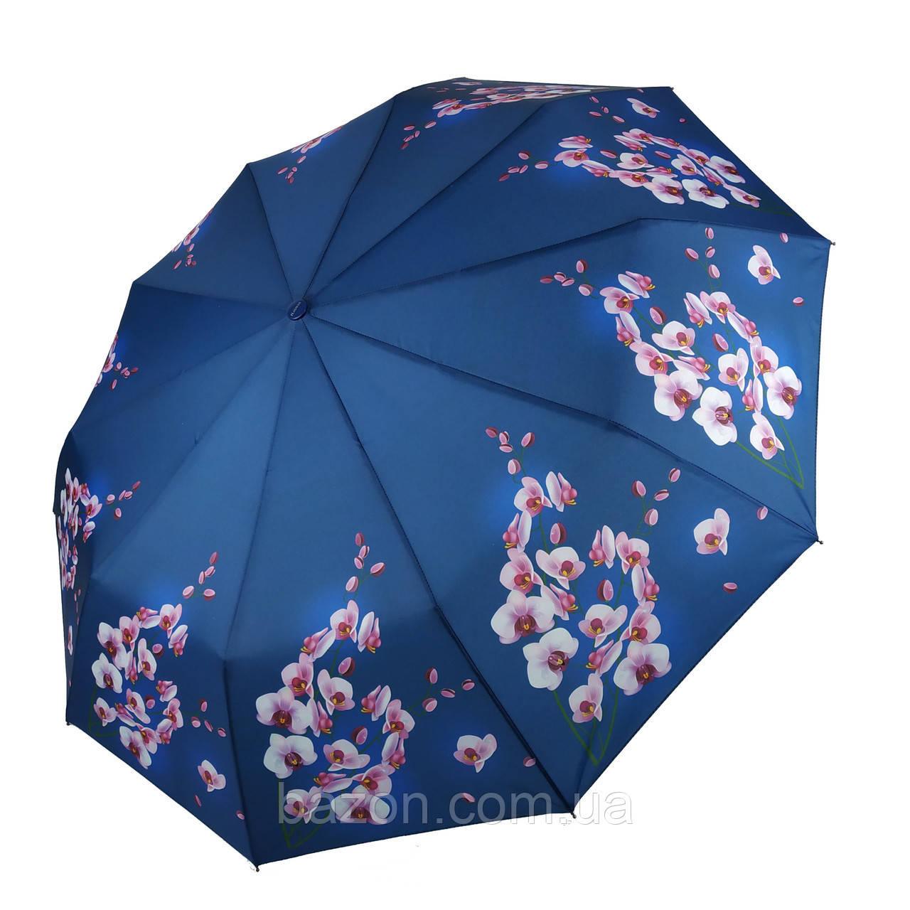 Женский зонтик полуавтомат с орхидеями от Flagman / Флагман, синий,  733-6