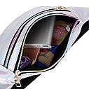 Блестящая женская сумка бананка Голограмма 3, Голубая, фото 8