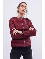 Женская короткая стеганая куртка без капюшона, куртка - бомбер, бордовая, фото 1