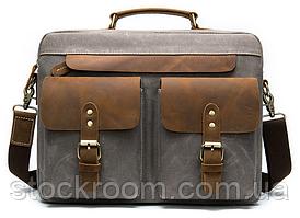 Сумка-портфель чоловіча текстильна з шкіряними вставками Vintage 20001 Сіра, Сірий