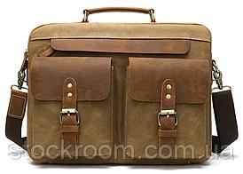 Сумка-портфель чоловіча текстильна з шкіряними вставками Vintage 20003 Рудий, Рудий