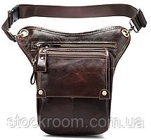 Сумка-барсетка на пояс мужская кожаная Vintage 20013 Коричневая, Коричневый