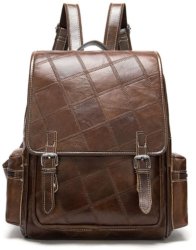 Рюкзак женский кожаный в клетку Vintage 20049 Коричневый